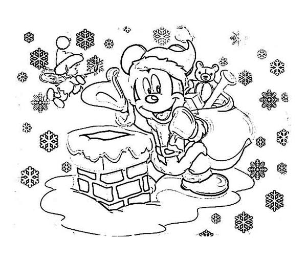 Christmas, : Mickey Mouse on Santa Claus Outfit Coloring Page