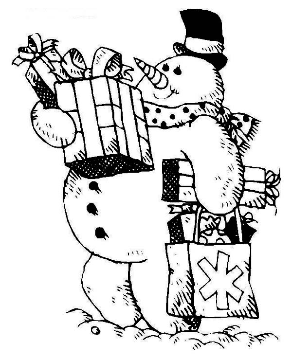 Christmas, : Mr Snowman with Bunch of Christmas Gifts Coloring Page