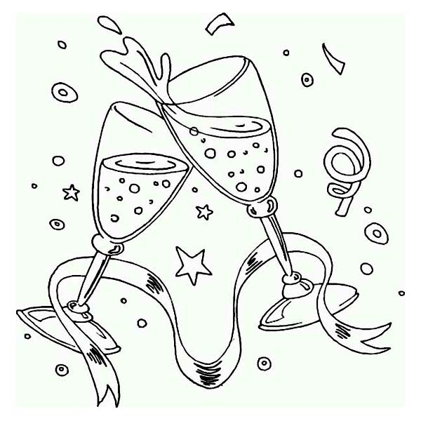 New Year, : Nice Toast for New Years Wishes Coloring Page