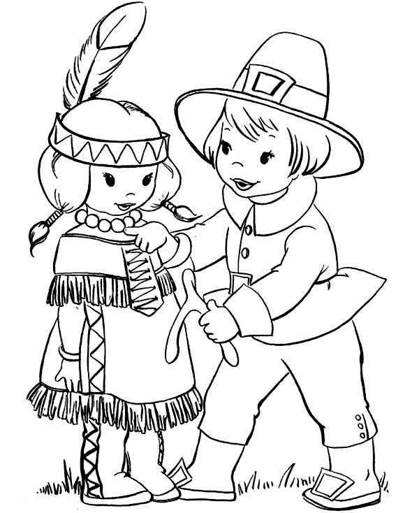 Thanksgiving Day, : Pilgrim Boy Giving Thanksgiving Day Wishbone to Little Indian Girl Coloring Page