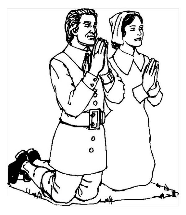 Thanksgiving Day, : Pilgrim Couple Doing Pray on Thanksgiving Day Coloring Page