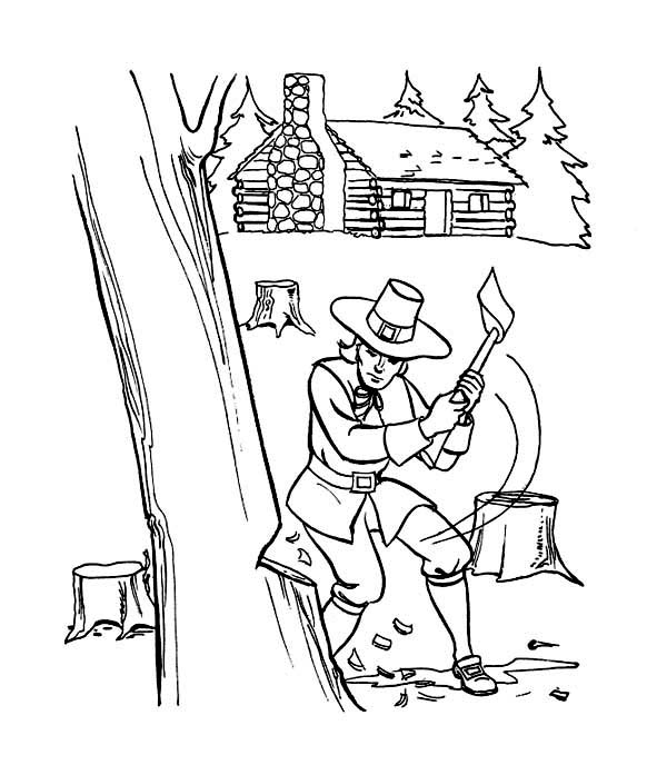 Thanksgiving Day, : Pilgrim Prepare for Thanksgiving Day Celebration Coloring Page