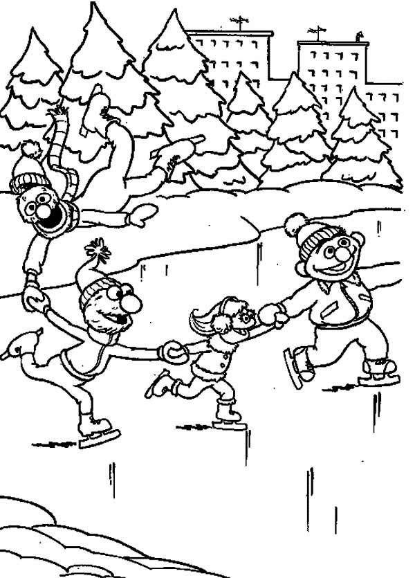 Winter, : Playing Ice Skates with Sesame Streets on Winter Coloring Page