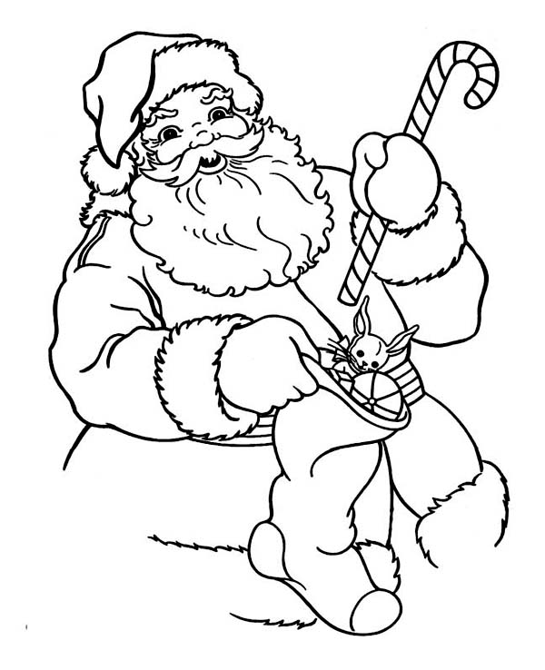 Christmas, : Santa Holding a Candy Cane and Christmas Stocking Coloring Page