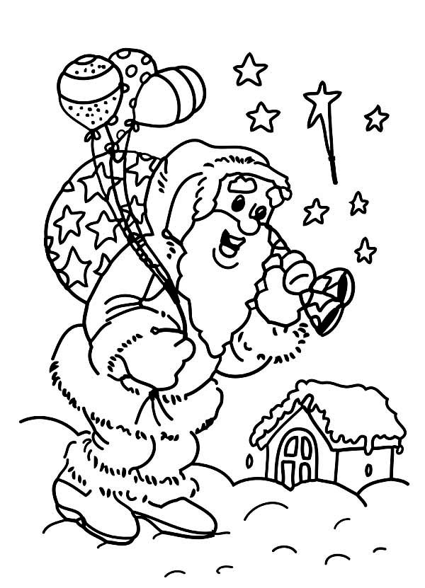 Christmas, : Santas Doing His Job on Christmas Eve Coloring Page