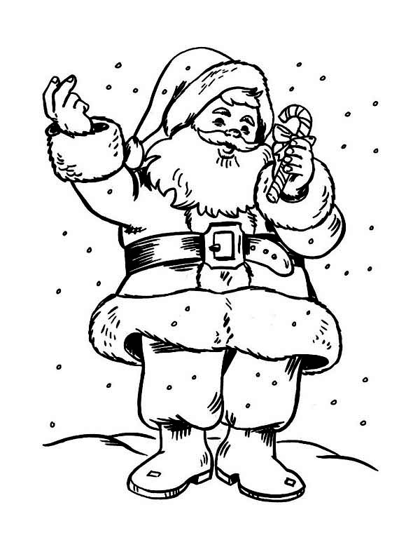 Christmas, : Santas Holding a Sweet Candy Cane Coloring Page
