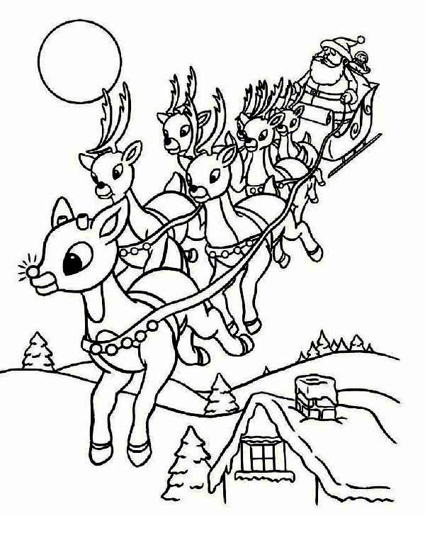 Christmas, : Santas Riding Christmas Sleigh on Christmas Eve Coloring Page