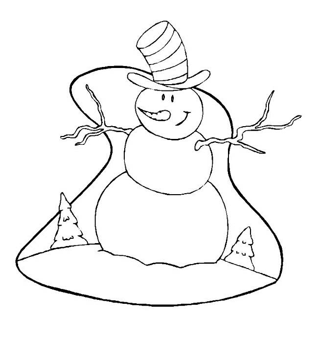 Winter, : Smiling Snowman with Big Hat on Winter Coloring Page