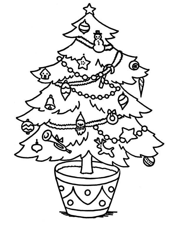 Christmas, : Sweet Christmas Tree on the Pot Coloring Page