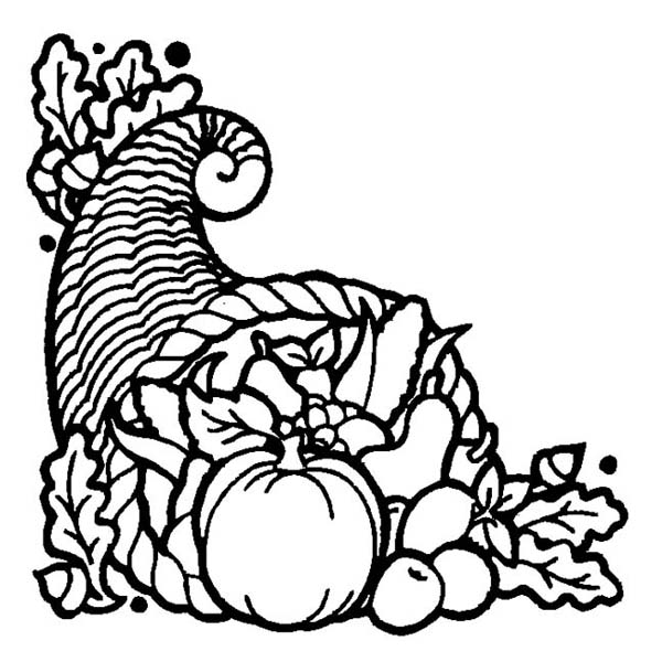 Thanksgiving Day, : Thanksgiving Day Cornucopia Basket Coloring Page