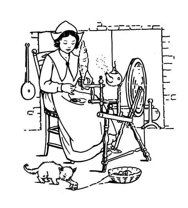 Thanksgiving Day, : Thanksgiving Day Crafts Made by Pligrim Women  Coloring Page