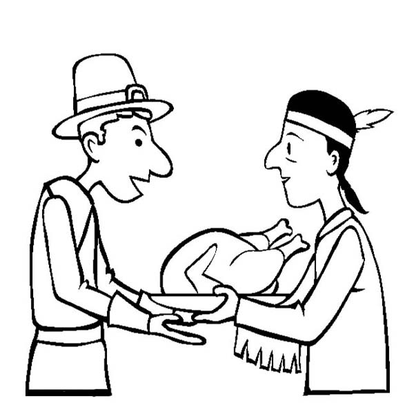 Thanksgiving Day, : Thanksgiving Day Sharing Hospitality Coloring Page