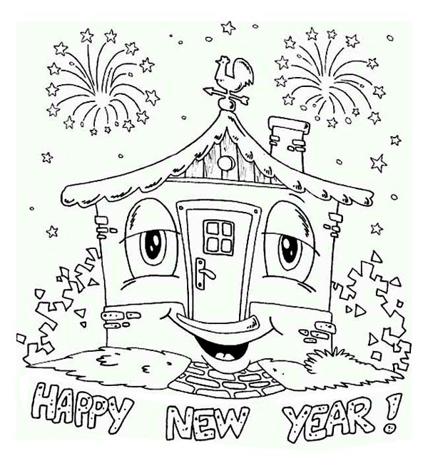 New Year, : The House Says Happy New Year Coloring Page