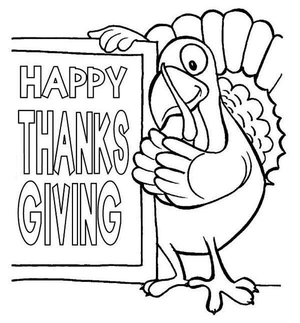 Thanksgiving Day, : The Turkey Says Happy Thanksgiving Day Coloring Page