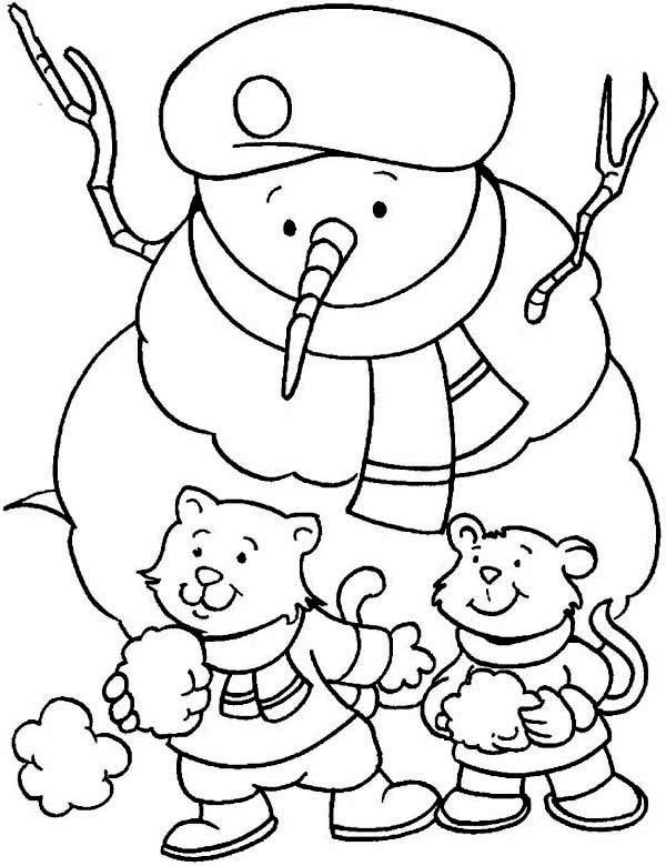 Winter, : Two Little Cat with Winter Snowman Wearing a Boy Scout Hat Coloring Page