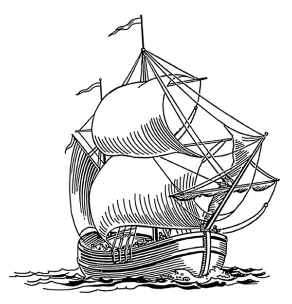 Pirate Ship, : 14th Century Dogger Pirate Ship Coloring Page