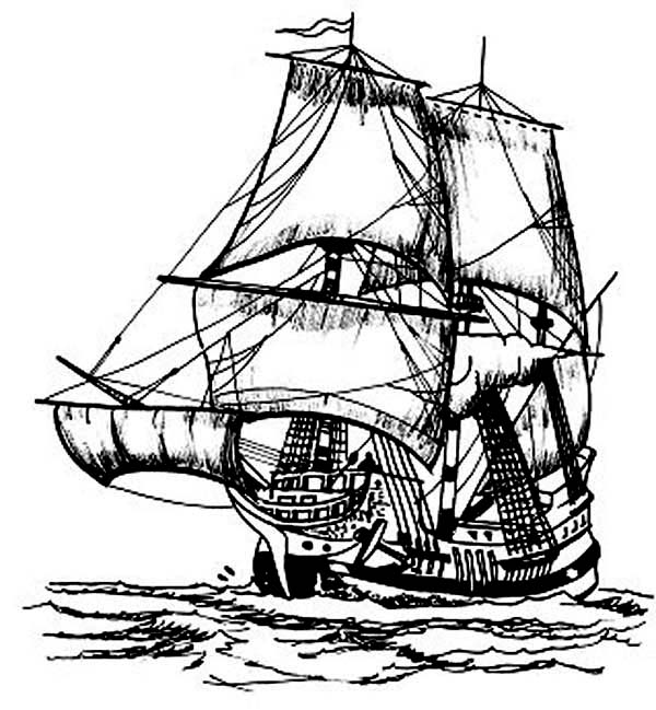 Pirate Ship, : 16th Century Pirate Ship Caravel Coloring Page