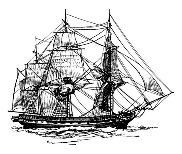 Pirate Ship, : 17th Century Frigate Pirate Ship Coloring Page