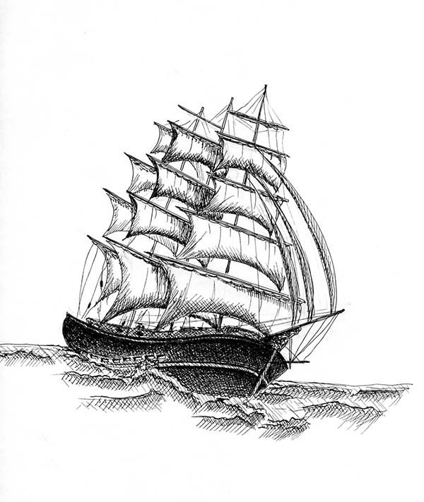 Pirate Ship, : 18th Century Brig Pirate Ship Coloring Page