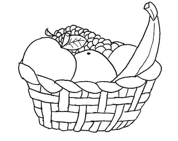 Fruits and Vegetables, : A Basket of Fruits Coloring Page