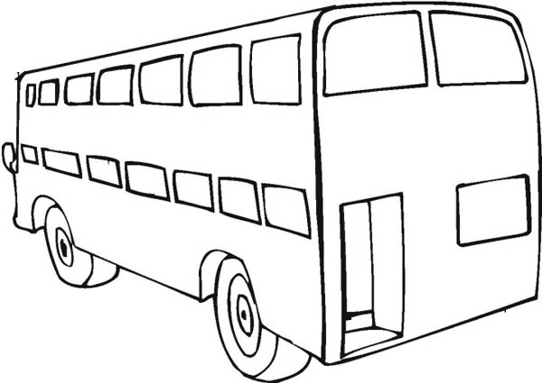 School Bus, : A Big Double Decker School Bus from Behind Coloring Page