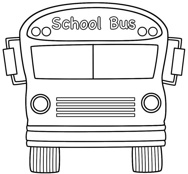 School Bus, : A Big School Bus From the Front View Coloring Page