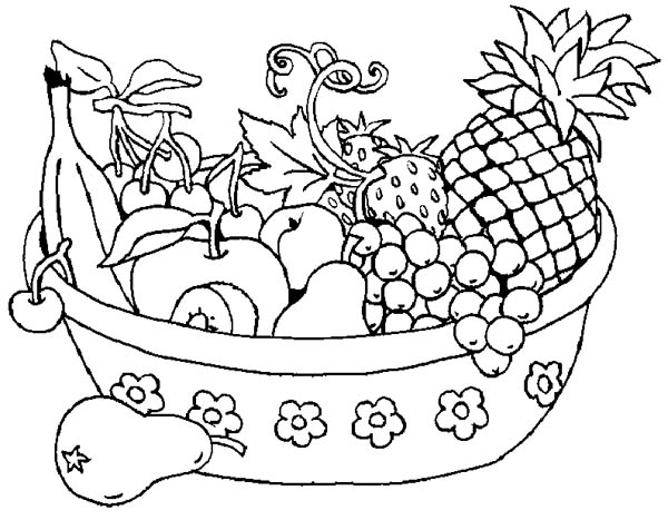 Fruits and Vegetables, : A Bowl of Fruits Coloring Page