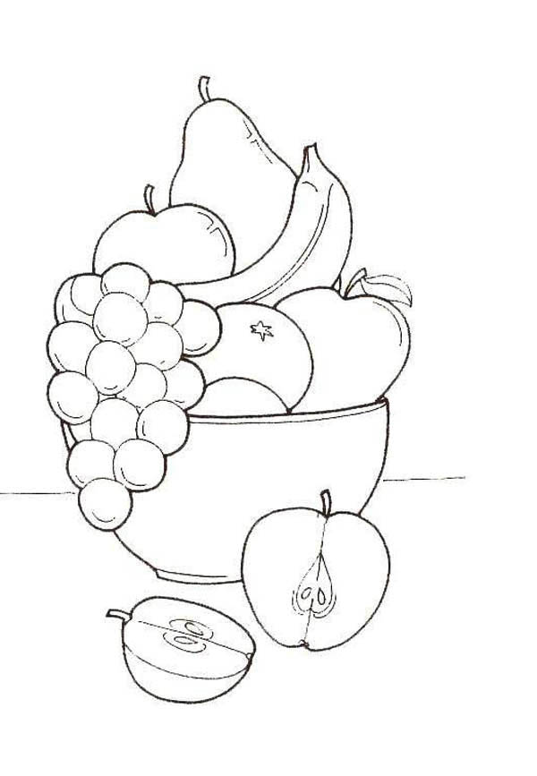 Fruits and Vegetables, : A Bucket of Tasty Fruits Coloring Page