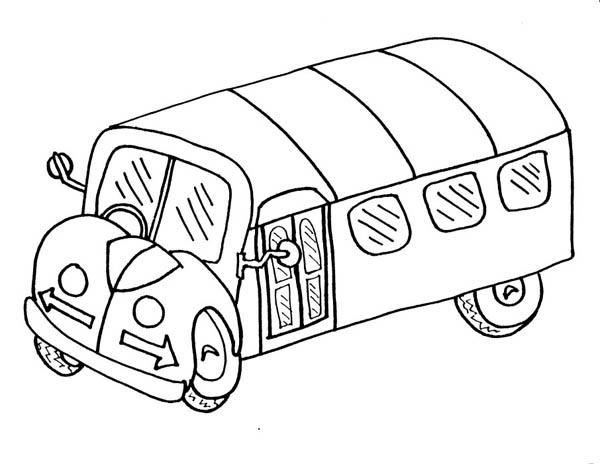 School Bus, : A Cartoon Drawing of School Bus Coloring Page