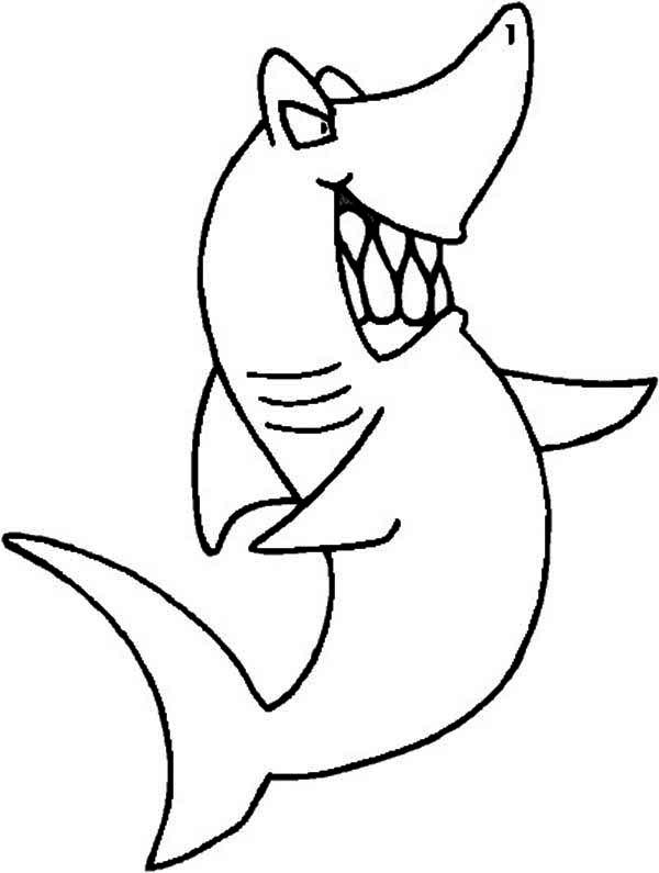 Sharks, : A Cartoon Figure of Blue Shark Coloring Page