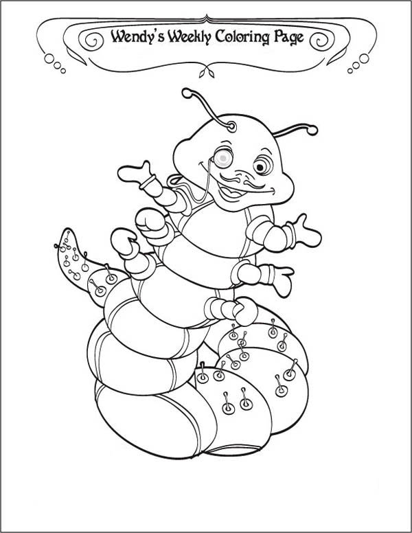 Caterpillars, : A Caterpillar Gentlemen Says Happy Weekend Coloring Page