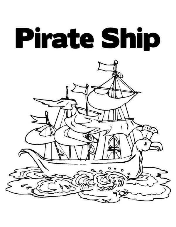 Pirate Ship, : A Classic Pirate Ship Cog on Shore Coloring Page