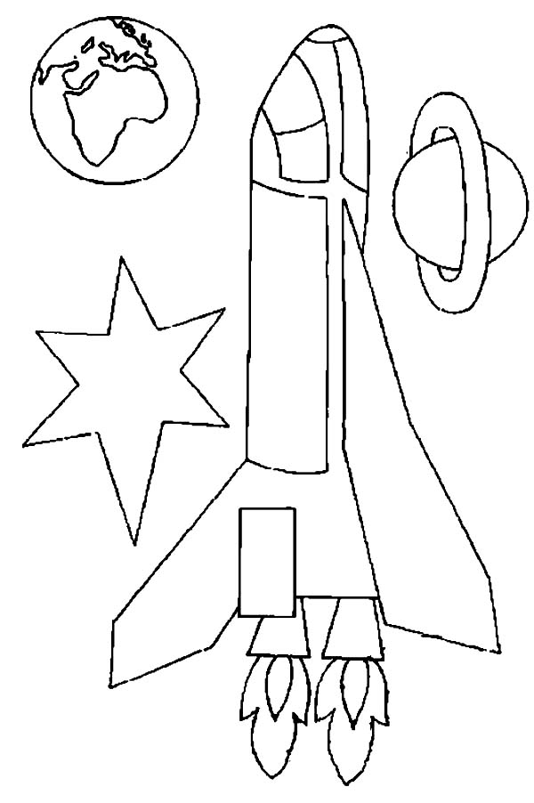 Space Shuttle, : A Cute Kids Drawing of Space Shuttle in the Orbit Coloring Page