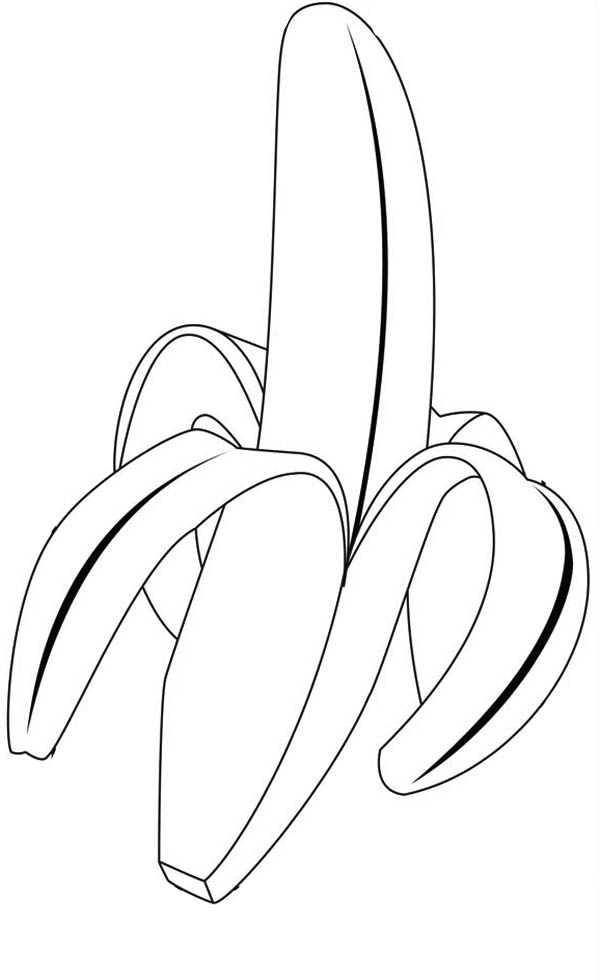 Fruits and Vegetables, : A Delicious Tropical Banana Coloring Page