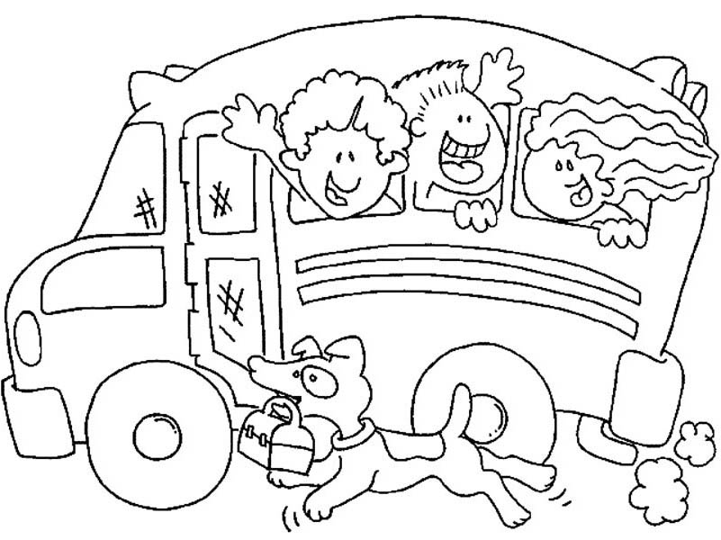 School Bus, : A Dog Running Alongside a School Bus Coloring Page