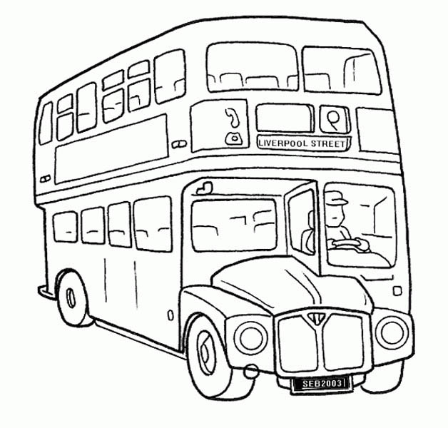 School Bus, : A Double Decker School Bus Coloring Page