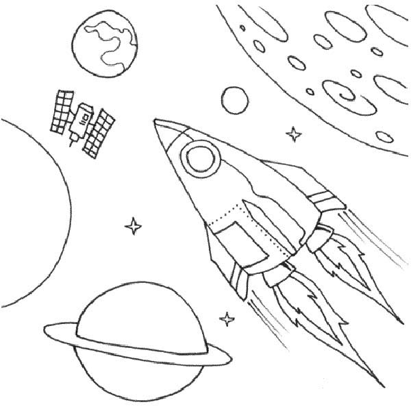 Space Shuttle, : A Fantasy Illustration of Space Shuttle Coloring Page