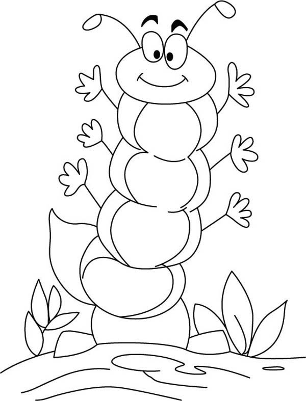 Caterpillars, : A Friendly Caterpillar Wave All His Hand Coloring Page