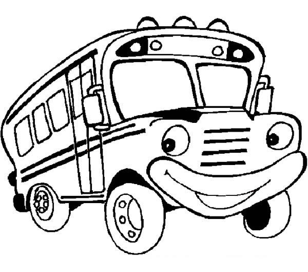 School Bus, : A Friendly Mr School Bus is Ready for You Coloring Page