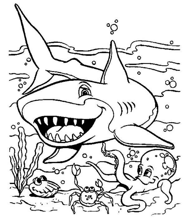 Sharks, : A Friendly Shark and Other Sea Animals on Seabed Coloring Page