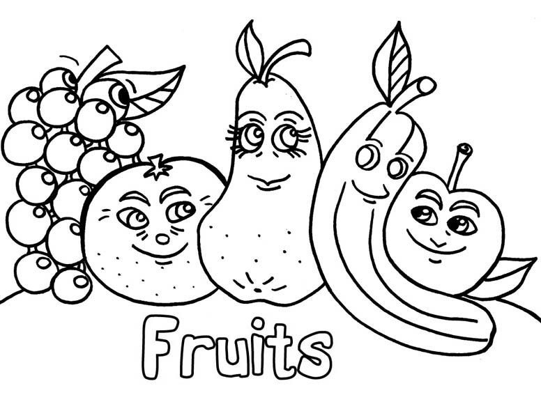- A Friendship Of Fruits Coloring Page : Kids Play Color