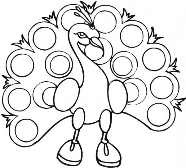 Peacock, : A Funny Peacock Wearing Boots Coloring Page