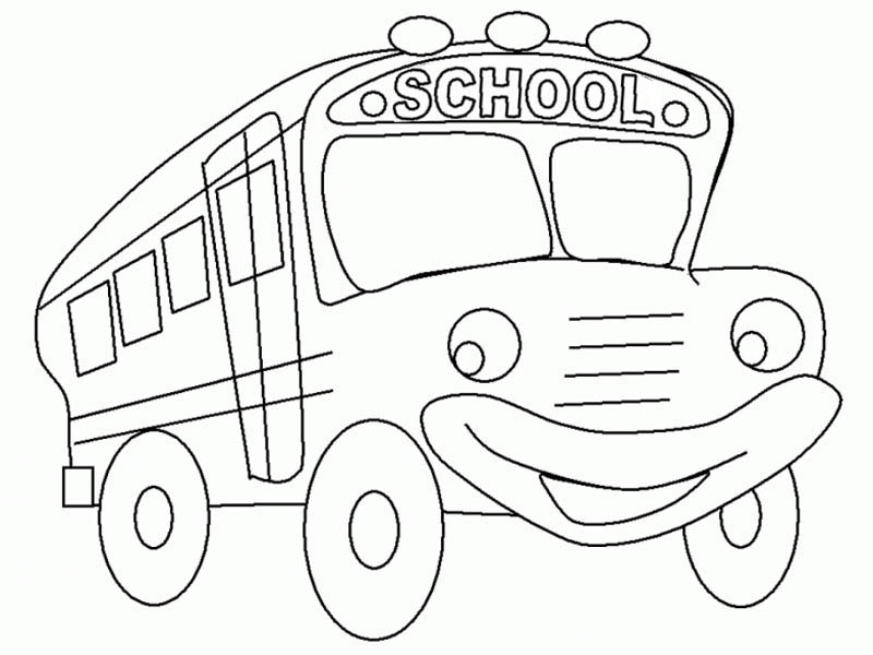 School Bus, : A Funny School Bus as Cartoon Character Coloring Page