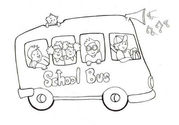 School Bus, : A Happy School Bus with Lots of Music Coloring Page