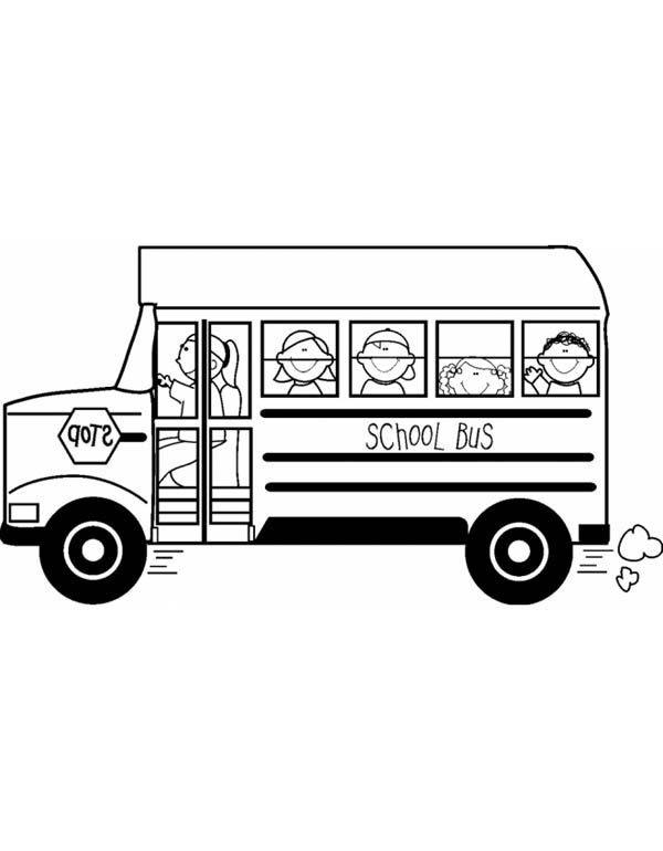 School Bus, : A Happy School Field Trip on School Bus Coloring Page