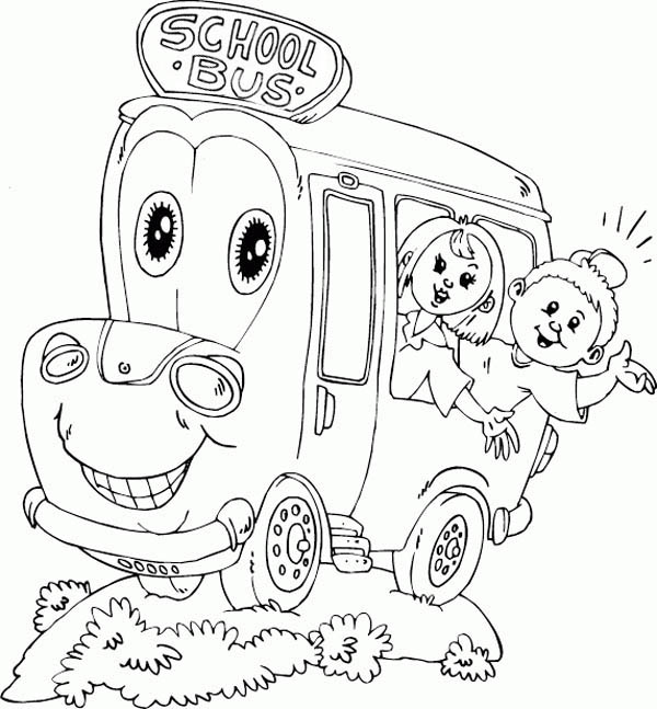 School Bus, : A Happy School Ride with Mr School Bus Coloring Page