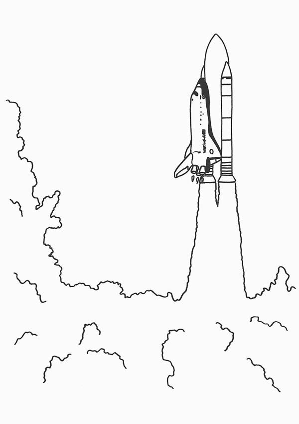 Space Shuttle, : A Heavy Smoke from Space Shuttle Launched Coloring Page
