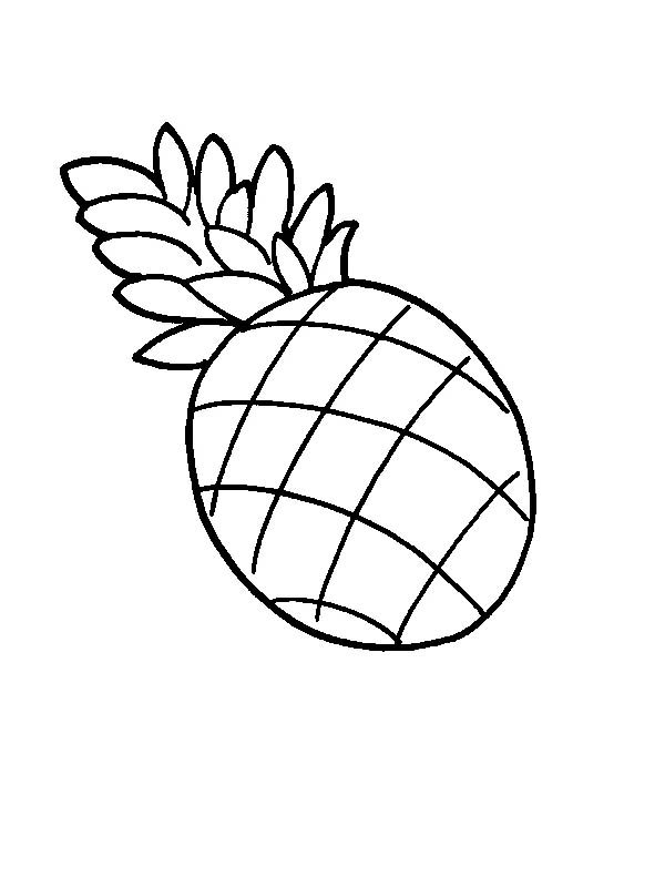 Fruits and Vegetables, : A Juicy Pineapple Fruit Coloring Page