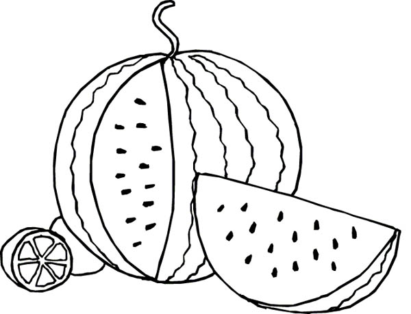 Fruits and Vegetables, : A Juicy Watemelon Fruit Coloring Page