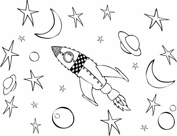 Space Shuttle, : A Kids Drawing of Space Rocket in the Orbit Coloring Page